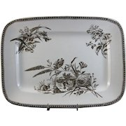 Large Aesthetic Brown Transferware English Platter - 1880s