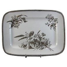 Large Aesthetic Brown Transferware English Platter - 1880s (40% OFF)