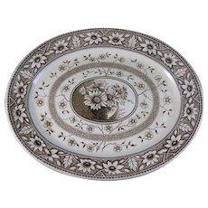 Huge Victorian Aesthetic Brown Transferware Platter 1883 (40% OFF)