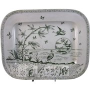 Large English Aesthetic Movement Green Transferware Platter 1883