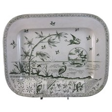 Large English Aesthetic Movement Green Transferware Platter 1883