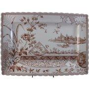 Large English Aesthetic Movement Brown Transferware Platter 1887