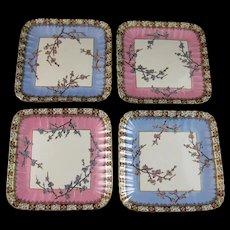 Set of 4 Victorian Staffordshire Square Dessert Plates - 1882