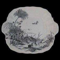 Victorian Black Transferware Cake Plate - Kangaroos ca. 1875
