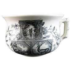Victorian Aesthetic Black Transferware Chamber Pot 1883