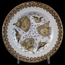 Victorian Aesthetic Brown Transferware Plate w/ Birds - 1880s
