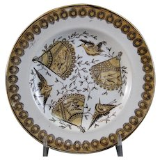Victorian Aesthetic Brown Transferware Plate w/ Birds - 1880s