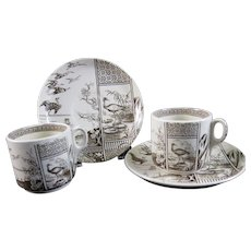 Pair Aesthetic Movement Transferware Cup & Saucer Sets - 1883