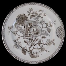 Large Rare Aesthetic Brown Transferware Plate - 1870s-80s