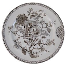 Large Rare Aesthetic Brown Transferware Plate - 1870s-80s