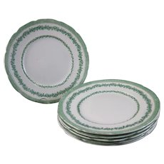 Set/6 Green English Victorian Transferware Plates - 1890s