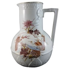 Large Victorian Aesthetic Movement Polychrome Wash Pitcher – ca. 1860-90
