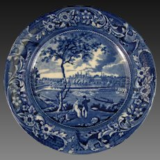 Early Victorian Staffordshire Blue Transferware Plate – ca. 1822-1835