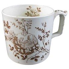 Victorian Staffordshire Brown Transferware Mug – Late 1800s