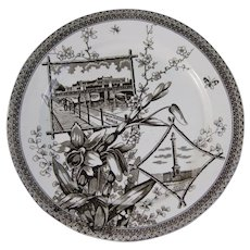 English Aesthetic Movement Brown Transferware Plate – Berlin & Quebec ca. 1884