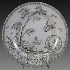 Large Aesthetic Transferware Plate – Birds & Flora ca. 1883