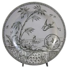 Large Aesthetic Transferware Plate – Birds & Flora ca. 1883 (40% OFF)