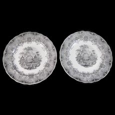 Pair Early Victorian Black Transferware Plates – ca 1850