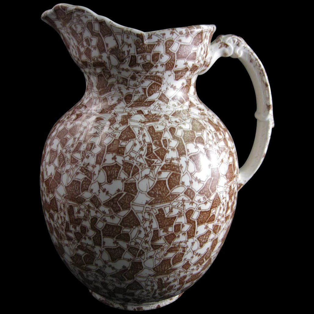 Large Aesthetic Brown Transferware Pitcher 1889 50 Off