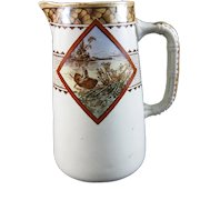 Victorian Aesthetic Brown Transferware Polychrome Pitcher - 1877