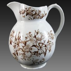 Victorian Brown Transferware Pitcher – Floral