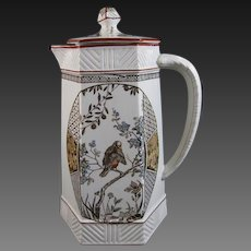 Aesthetic Brown / Polychrome Transferware Chocolate Pot – 1883