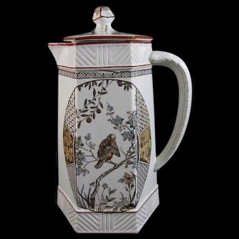 Aesthetic Brown / Polychrome Transferware Chocolate Pot – 1883 (40% OFF)