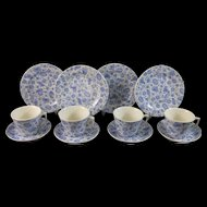 English Victorian Child's Tea Set - Cups/Saucers and Plates for 4 - 1882