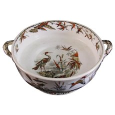 Aesthetic Transferware / Polychrome Large Footed Bowl - Indus 1877
