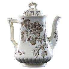 Large Victorian Brown Transferware Coffee Pot - 1884