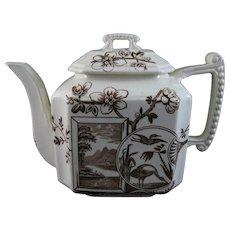 Victorian English Brown Transferware Teapot - Birds & Floral 1884