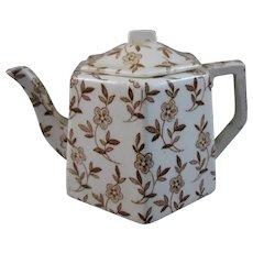 Child's English Victorian Brown Transferware Teapot - 1880s