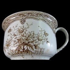 English Victorian Brown Transferware Chamber Pot  - Late 1800s