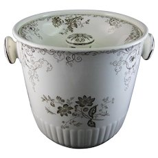 Victorian / Aesthetic movement Brown Transferware Covered Waste Bucket / Slop Pot - 1884