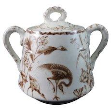 Victorian Brown Transferware Covered Sugar Bowl - ca. 1877