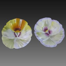 Pair of English Victorian Pansy Footed Dishes - 1889