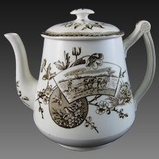 Victorian Aesthetic Brown Transferware Teapot – Rural Life, Birds - ca. 1870s-1880s