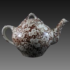English Victorian Child's Brown Transferware Teapot ca. 1880s