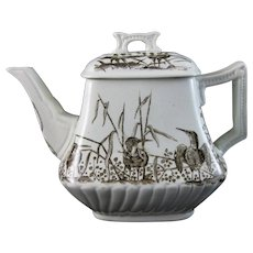 Victorian Brown Transferware Teapot – Birds - ca. 1880s (40% OFF)