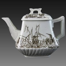 Victorian Brown Transferware Teapot – Birds - ca. 1880s