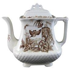 Victorian Brown Transferware Coffee Pot – Birds 1880s