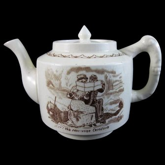Whimsical  English Victorian Brown Transferware Teapot ca. 1880s (40% OFF)