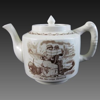 Whimsical  English Victorian Brown Transferware Teapot ca. 1880s