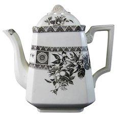 Aesthetic Brown Transferware Coffee Pot / Teapot – 1884 (40% OFF)