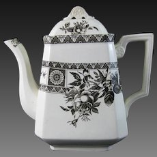 Aesthetic Brown Transferware Coffee Pot / Teapot – 1884