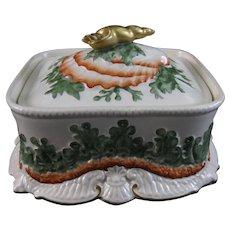 Victorian Staffordshire Sardine Box – Seashells & Seaweed – 1870s-80s