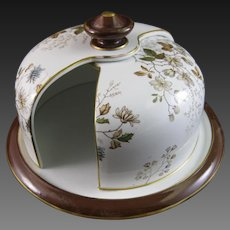 Victorian Brown / Polychrome Transferware Cheese Keeper / Cheese Dome – 1891