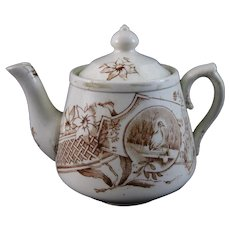 Victorian Staffordshire Child's Brown Transferware Teapot – 1880s (40% OFF)