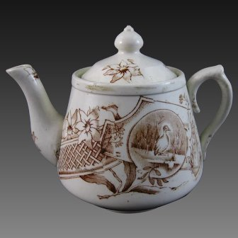 Victorian Staffordshire Child's Brown Transferware Teapot – 1880s