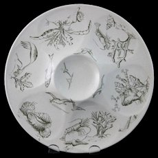 Aesthetic Movement Transferware Oyster Plate - Sea Life 1880s